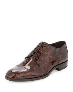 Prescott Turtle Patent Leather Lace-Up Shoe, Chocolate by Jimmy Choo at Bergdorf Goodman.