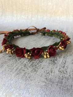 Burgundy and gold flower crown Red wedding tiara Floral #weddingcrowns