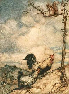 """Arthur Rackham illustration for """"Grimm's Fairy Tales"""". These scans are from a first edition of Grimm's Fairy Tales from This book is packed with amazing color plates and ink sketches. Arthur Rackham, Chicken Art, Grimm Fairy Tales, Galo, Fairytale Art, Children's Book Illustration, Book Illustrations, Rooster Illustration, Art Graphique"""