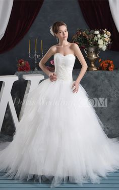 Fairy A Line Tulle Ball Gown Wedding Dress With Appliqued Waist. #beautiful #wedding #dresses #designers #affordable #wedding #dress #styles #backless #unique  #DorisWedding.com