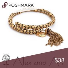 NEW Alex &a Ani gold tassel wrap bracelet This is. NWT Nordstrom exclusive design. It is an antiqued gold color with a tassel on the end. It expands to fit any size wrist. Alex & Ani Jewelry Bracelets