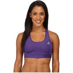 adidas Techfit Bra (Unity Purple/Matte Silver) Women's Bra ($25) ❤ liked on Polyvore featuring activewear, sports bras, adidas, purple pullover, adidas sportswear, adidas activewear and silver sports bra