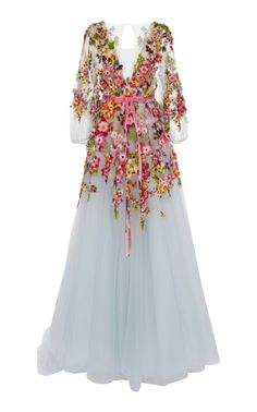 Embroidered V-Neck Gown by MARCHESA for Preorder on Moda Operandi