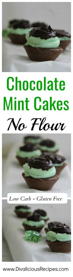 Flourless chocolate mint cakes that make a delicious low carb and gluten free treat.