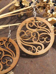barbara--Filigree Earrings - Laser Cut Wooden Hoops - Sustainable Harvest Wisconsin Wood . Timber Green Woods. $15.95, via Etsy.