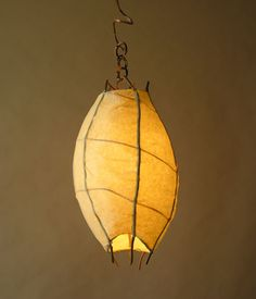 Birch & Willow :: pod pendant lighting fixture hand-made with natural materials (Bittersweet, saplings, paper, hand-hammered copper wire)