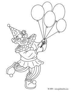 Coloriage PERSONNAGES CARNAVAL - Clown aux ballons du carnaval à