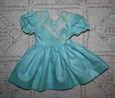 Teal Pique Dress for Hard Plastic Dolls 1950s