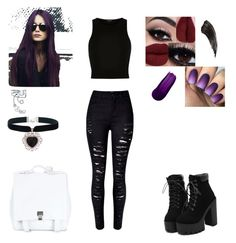"""""""Dark"""" by kalena411 on Polyvore featuring River Island, Bling Jewelry, Rock 'N Rose, Proenza Schouler, Dark, goth and alternative"""