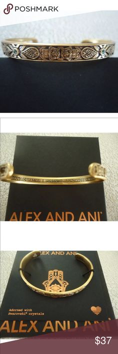 ALEX AND ANI Hand of Fatima Rafaelian Gold Cuff 💕This beautiful Rafaelian Gold cuff bangle is brand new with tags and comes with an Alex and Ani card and box.  Price is firm unless bundled with other items in my closet/boutique.💕 Alex & Ani Jewelry Bracelets