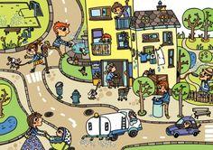 Colección de Láminas en color XL  para trabajar atención, percepción vocabulario LA CALLE Everyday Activities, Teaching Spanish, Toddler Preschool, Speech And Language, Character Illustration, Cool Pictures, Cool Art, In This Moment, Neon