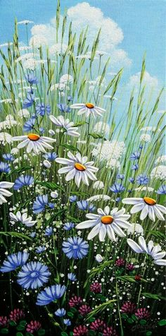 Summer& Chicory by Jordan Hicks, Acrylic on Canvas, Painting . Pictures To Paint, Art Pictures, Photos, Arte Floral, Painting Inspiration, Flower Art, Wild Flowers, Beautiful Flowers, Watercolor Paintings