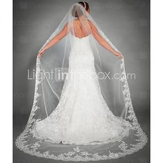 Wedding Veil One-tier Chapel Veils / Cathedral Veils Lace Applique Edge - USD $33.99