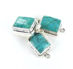 AQUA CHINESE TURQUOISE STERLING CUSHION CLASP ETCHED 15x12mm from New World Gems