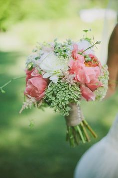 coral charm peony and queen anne's lace bouque