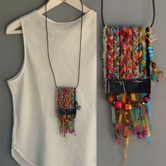 Ecofriendln fabric necklace, Boho textile necklace, Tassel Statement Necklace…