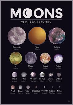 Moons of our Solar System – A gallery-quality graphic design art print by Alexandria Neonakis for sale. Moons of our Solar System – A gallery-quality graphic design art print by Alexandria Neonakis for sale. Cosmos, Space Planets, Space And Astronomy, Astronomy Facts, Astronomy Quotes, Astronomy Tattoo, Astronomy Stars, Astronomy Pictures, Ciel Nocturne