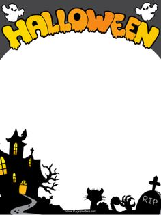 This free, printable Halloween border features ghosts, black cats, tombstones and a creepy haunted house. Free to download and print.