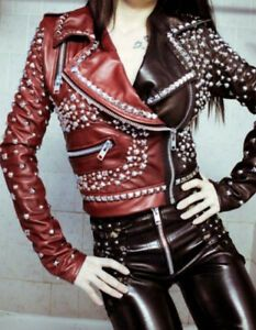 Women's Two Tone Brown Red Contrast Genuine Biker Leather Silver Studded Jacket Studded Leather Jacket, Biker Leather, Leather Jackets, Cowhide Leather, Cow Leather, E Biker, Leder Outfits, Biker Style, Jacket Style