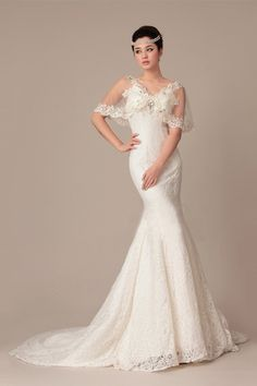 Mermaid V-neck Cap Sleeve Crystal Court Train Wedding Dress