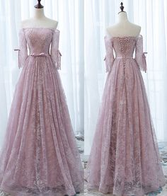 Elegant Off Shoulder Pink Lace Beading Bow Knot Long A-line Lace Up Back Half Sleeve Prom Dress,WD0190