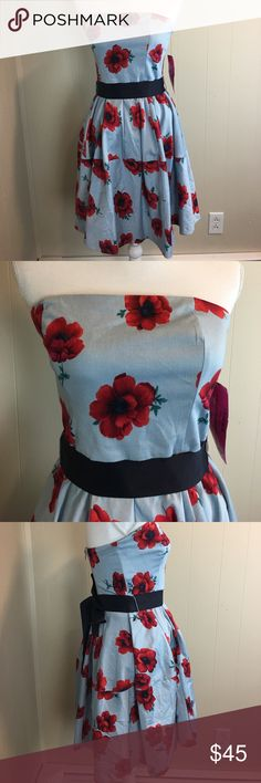 "Betsey Johnson Women's Dress Size 8 Strapless Betsey Johnson Women's Dress Size 8 Strapless A-line Ribbon Belt Blue with Red Flowers Length Bust to Hem 29"" Pit to Pit 16""Empire Waist 28"" New With Tags (588A) Betsey Johnson Dresses Strapless"