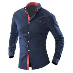 Color Block Top Fly One Pocket Polka Dot Print Shirt Collar Long Sleeves Slimming Men's Button-Down Shirt - Cadetblue - M
