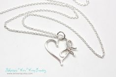 Remember... I Will Always Love You Sterling Silver Heart with Bow Necklace by wirewrap