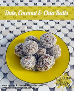 Thermomix recipe for date, Coconut and Chia seed balls all made in the thermomix. Easy recipe for snack treats healthy balls with chia and coconut. Wrap Recipes, Raw Food Recipes, Sweet Recipes, Snack Recipes, Cooking Recipes, Cantaloupe Recipes, Radish Recipes, Candy, Finger Foods