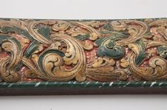 Norwegian Mangle Board, Detail, Acanthus carving, Handle a stylized kneeling lion, 1859.