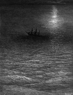 The Marooned Ship In A Moonlit Sea Drawing by Gustave Dore - The Marooned Ship In A Moonlit Sea Fine Art Prints and Posters for Sale