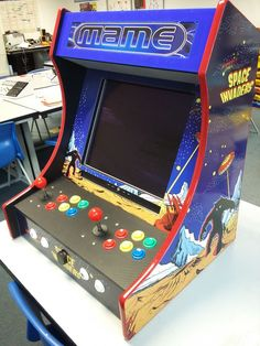 Bartop Arcade Machine (Powered by Pi) - Home Arcade Room - Pi Arcade, Arcade Bartop, Arcade Room, Retro Arcade, Arcade Games, Gaming Cabinet, Mini Arcade Machine, Bubble Games, Arduino Projects