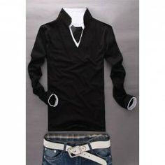 $6.38 Fashionable Double Stand Collar Long Sleeve T-Shirt For Men