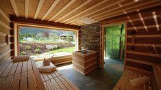 Window in Sauna is cool. (This sauna way too big) Saunas, Sauna House, Sauna Room, Spa Hammam, Outdoor Spa, Outdoor Decor, Sauna Shower, Indoor Sauna, Sauna Design