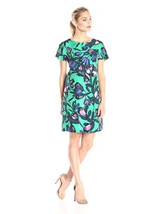 c1bf121c2b972a Donna Morgan Women s Short-Sleeve Twill Printed Shift Dress at Amazon  Women s Clothing store