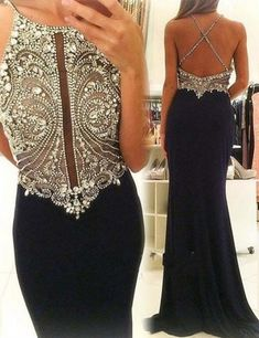 Navy Blue Prom Dresses,Rhinestone Prom Dress,Luxury Prom Gowns,Beaded Prom Dresses,Jewel Dress,Sexy Prom Party Dress,Backless Prom Dress,Chiffon Prom Gowns
