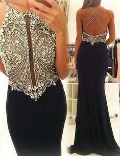Navy Blue Prom Dresses,Rhinestone Prom Dress,Luxury Prom Gowns,Beaded Prom Dresses,Jewel Dress,Sexy Prom Party Dress,Backless Prom Dress,Chiffon Prom Gowns
