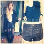 Our lovely Oksana rocking the leather shorts by Atmos & Here.