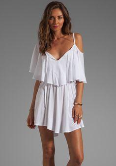 INDAH Zhina Rayon Chiffon Flounce Mimi Dress in White at Revolve Clothing - Free Shipping!