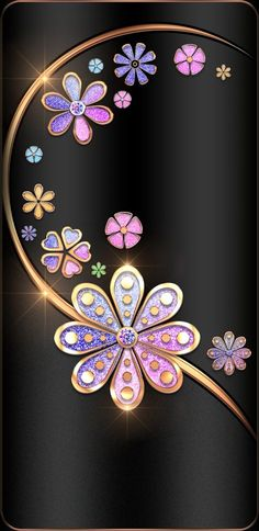 Ideas For Wall Paper Floral Black Colour Bling Wallpaper, Flowery Wallpaper, Phone Screen Wallpaper, Luxury Wallpaper, Aesthetic Iphone Wallpaper, Cellphone Wallpaper, Pattern Wallpaper, Wallpaper Backgrounds, Trendy Wallpaper