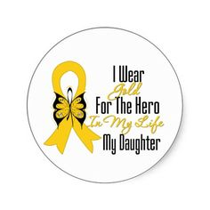 childhood cancer ribbon | Childhood Cancer Ribbon My Hero My Daughter Round Sticker from Zazzle ...