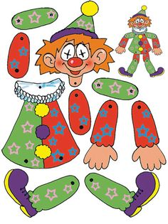 beweglicher clown basteln Vorlage ausdrucken Körperteile The Effective Pictures We Offer You About Decoupage gifts A quality picture can tell you many things. You can find the most beautiful pictures Paper Puppets, Paper Toys, Paper Crafts, Hand Crafts For Kids, Animal Crafts For Kids, Play School Activities, Carnival Crafts, Educational Games For Kids, Baby Drawing