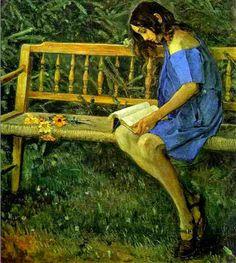 Portrait of Natasha Nesterova (On a garden bench), 1914,  Mikhail Vasilyevich Nesterov (Russia 1962-1942)