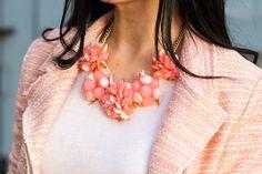 Coral Flowers and Denim (Necklace by www.shopmokka.com)
