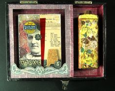 Greg Hanson assemblage piece using old photos, antique talc tin.