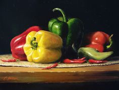 Beautiful still life oil painting of peppers in a variety of colours. The source of this pin shows the painting in informative stages. Vegetable Painting, Fruits Drawing, Still Life Fruit, Still Life Oil Painting, Fruit Painting, Still Life Photos, Realistic Paintings, Fruit Art, Still Life Photography