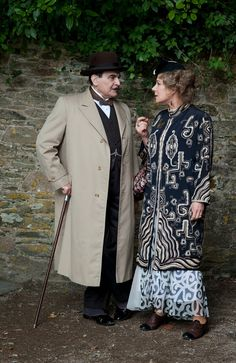 "Hercule Poirot and Ariadne Oliver - David Suchet and Zoë Wanamaker in Agatha Christie's Poirot Season 13 ""Dead Man's Folly"", set between 1935 and 1939."