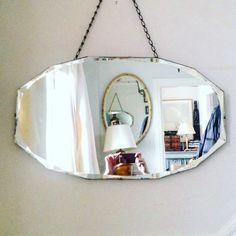 Art Deco frameless bevelled mirror from Find, Cows Lane, TempleBar, Dublin #Irishvintageinteriors
