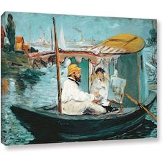 ArtWall Edouard Manet Monet in his floating studio Gallery-wrapped Canvas, Size: 24 x 32, Blue