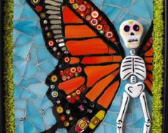 Items similar to Mosaic Skull Wall Art- Day of the Dead Calavera- Primavera on Etsy Mexican Crafts, Mexican Folk Art, Butterfly Mosaic, Butterfly Pendant, Butterfly Wings, Skull Wall Art, Fete Halloween, Day Of The Dead Skull, Guache